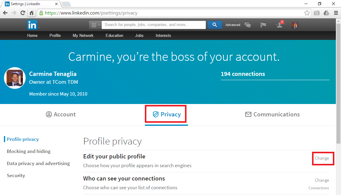 LinkedIn - Privacy Menu